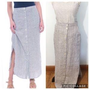 Antibes Blanc Pinstripe Linen Button Front Skirt